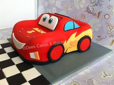 My first carved and first Lightening Mcqueen car cake