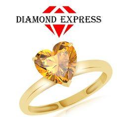 "1.71 Ct Heart Shape Orange Citrine Solitaire Ring 14K Gold """". Starting at $89"