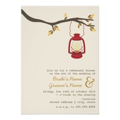 Custom Red Oil Lantern Wilderness / Camping Fall Wedding Custom Announcement created by JillsPaperie. This invitation design is available on many paper types and is completely custom printed. Outdoor Wedding Invitations, Rehearsal Dinner Invitations, Wedding Rehearsal, Invites, Invitation Ideas, Invitation Suite, Wedding Reception, Rustic Rehearsal Dinners, Camp Wedding