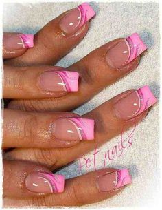 Pink french nails with art design french manicure designs, Fancy Nails, Cute Nails, Pretty Nails, French Acrylic Nails, French Tip Nails, French Tips, French Manicures, French Nail Art, Pink French Manicure