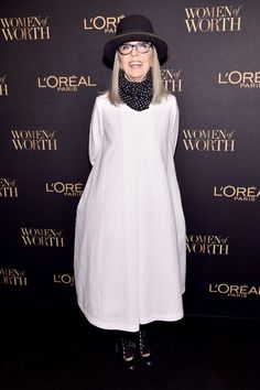 How Diane Keaton Taught Us That Conventional Beauty Is Bullshit  #refinery29  http://www.refinery29.com/2017/01/134175/diane-keaton-annie-hall-beauty-standards-feminism#slide-5  Full disclosure: I think this is a Theory dress, and I have it in black, so I am already predisposed to liking it. But homegirl can rock a hat on a step-and-repeat, can't she? Marvelous, though perhaps a dangerous outfit to be wearing around anyone with a glass of wine. (Diane: She's bold.) ...