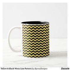Shop Yellow & Black Wavy Line Pattern + Custom Name Coffee Mug created by AponxDesigns. Yellow Mugs, Blue Coffee Mugs, Line Patterns, Custom Mugs, Mug Designs, Black N Yellow, Tea Cups, Light Blue, Tableware