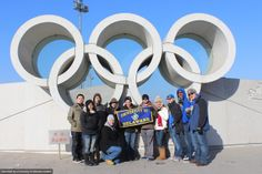 Students abroad standing in front of Olympic Park in Beijing this Winter.