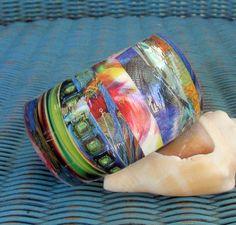 Colorful Wooden Decoupage Bracelet / Bangle by sistascreativecafe, $30.00
