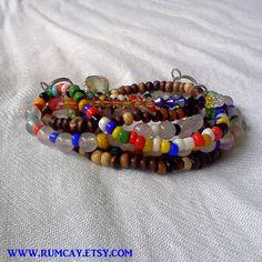 Double Wrap - Four Strings Bracelet  Beaded by Rum Cay Island Jewelry
