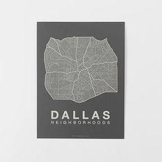 Native Maps - Dallas Print #westelm 18 X 24   $25 , MULTIPLE COLOR OPTIONS