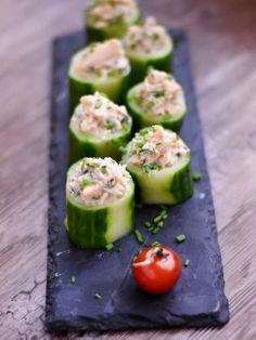 Bouchées de concombre au crabe - Recette de cuisine Marmiton : une recette