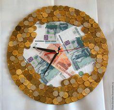Купить Часы из монет - рыжий, часы настенные, подарок, подарок мужчине, подарок на новоселье