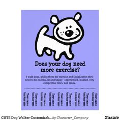 Cute Dog Walker Custom Promotion Tear Sheet Flyer By Character Company