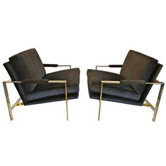 Mirror Polished Brass and Velvet Lounge Chairs by Milo Baughman | From a unique collection of antique and modern lounge chairs at https://www.1stdibs.com/furniture/seating/lounge-chairs/