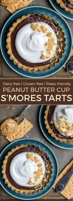 Peanut Butter Cup S'MORES TARTS. Yes, it is a thing. These are so fun! Made dairy-free and gluten-free friendly. You can even make these paleo by subbing the PB for cashew or almond butter!