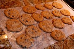 "Healthy Chocolate chip cookies    Makes 12 Cookies.    78 Calories Each 1g Fat 13g Carbs 3g Protein    ""Doing Dessert"""