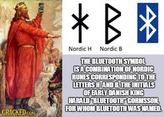 "Combination of Nordic Runes for the letters H and B, the initials of a Danish King Harald ""Bluetooth"" Gormsson."