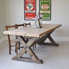 Reclaimed Wood Trestle Dining Table from Homebarn from £735 available in length and width of clients choice