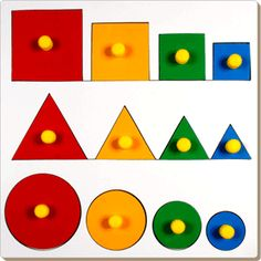 This represents the concept of seriation, which is the ability to group objects by some criteria. This skill is developed in the concrete operational stage Wooden Puzzles, Wooden Toys, Piaget Stages Of Development, Home Crafts, Diy Crafts, Jean Piaget, Wood Source, Creative Play, Paint Finishes
