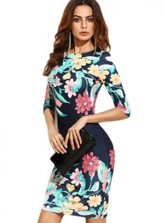 Cheap midi dress, Buy Quality party dresses directly from China dress bodycon Suppliers: COLROVIE Women Navy Blue Flower Print Party Dresses Bodycon Fall Sheath Elegant Ladies Autumn Half Sleeve Midi Dress Sexy Dresses, Party Wear Dresses, Sexy Party Dress, Club Dresses, Elegant Dresses, Fashion Dresses, Floral Dresses, Floral Outfits, Short Dresses
