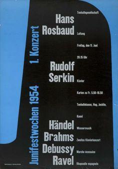 Juni-Festwochen Zürich 1954 - 1. Konzert - Hans Rosbaud - Rudolf Serkin - (...)-Plakat