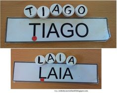 Composicion del nombre con tapones de plastico