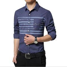 7107d4ed0 2017 New Design Printed Striped Cotton White/Blue Business Formal Dress  Shirts Men Fashion Long