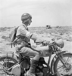 WESTERN DESERT:  AN ARMY DESPATCH RIDER ON HIS MACHINE IN THE DESERT, pin by Paolo Marzioli
