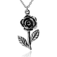 Journee Collection Sterling Silver Traditional Rose Pendant ($45) ❤ liked on Polyvore featuring jewelry, pendants, silver, pendant jewelry, sterling silver charms pendants, journee collection, chain pendants and cable jewelry