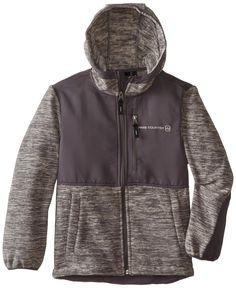 Free Country Big Boys' Space Dye Fleece Jacket, Gray/Gray, Large (14/16)