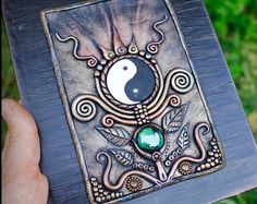 Clay notebook, Yin Yang polymer clay, book diary cover, dream journal, polymer clay diary, fantasy book, polymer clay cover, sketchbook