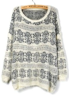 White Long Sleeve Floral Loose Pullover Sweater pictures #SheInside