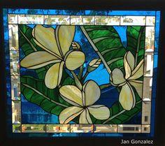 Stained Glass Hawaiian Plumeria  Original Design by JanGonzalez, $895.00