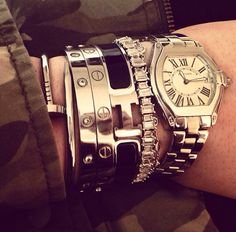 cartier love bracelets + hermes + watch