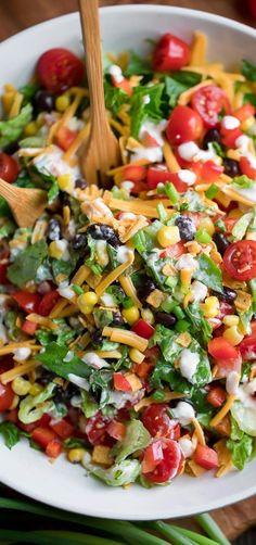 Healthy Salad Recipes, Vegetarian Recipes, Mexican Food Recipes, Dinner Recipes, Cooking Recipes, Vegetarian Taco Salad, Mexican Meals, Ethnic Recipes, Clean Eating