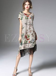 Ethnic Floral Print Tassel Patch Irregular Hem Shift Dress
