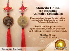 Moneda con los 4 animales Celestiales Feng Shui