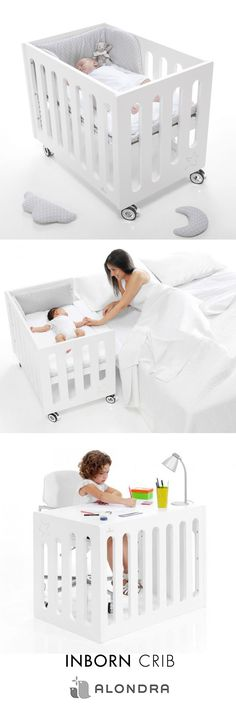 Alondra's side-sleeping crib allons your newborn to sleep next to you with the utmost comfort and safety. Created and designed for parents who would like their baby to enjoy the proven benefits of side-sleeping. When used in bedside mode, one of the side panels is lowered so that the crib can be perfectly adjusted to your bed. This convertible piece of furniture may be subsequently used as a regular crib and as a desk, so it will follow your child's development.