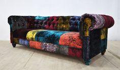 Chesterfield patchwork sofa gothic velvet by namedesignstudio
