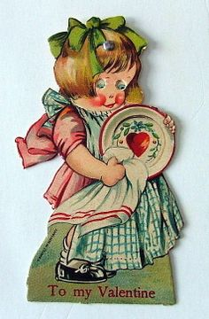 Charles Twelvetrees Valentine: VINTAGE MECHANICAL MOVEABLE GERMAN VALENTINE LITTLE GIRL WIPING DISHES EYES MOVE