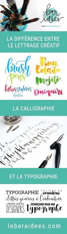 La différence entre le lettrage créatif, la calligraphie et la typographie - Difference between calligraphy, Brush lettering, hand lettering and typography.