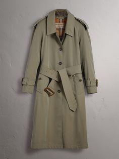 Side-slit Tropical Gabardine Trench Coat in Chalk Green - Women | Burberry Australia - cell image 3