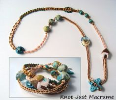 Gold and Teal Micro Macrame Wrap Bracelet with por KnotJustMacrame