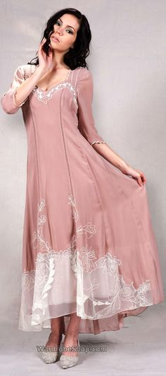 40126 Embroidered Nataya Victorian Style Pink/Ivory Dress - SOLD OUT