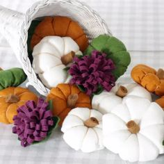 "DIY Felt Fall Cornucopia : You can modernize your ""horn of plenty"" centerpiece this season by painting the basket white and creating some delightful felt gourds and flowers in any color you'd like to fill it. Felt Crafts Diy, Easy Fall Crafts, Felt Diy, Felt Christmas Decorations, Christmas Diy, Halloween Crafts, Holiday Crafts, Manualidades Halloween, Diy Thanksgiving"