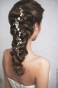 Wedding hair pin / Weddings - Top Newest Hair Design Pigtail Hairstyles, Scarf Hairstyles, Pretty Hairstyles, Braided Hairstyles, Wedding Hairstyles, Hair Accessories For Women, Wedding Hair Accessories, Hair Scarf Styles, Long Hair Styles