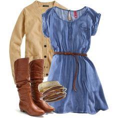 I'd switch out the cardigan, but I love the blue cowgirlish dress and boots.