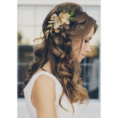 15 Beautiful Wedding Hairstyles For Long Hair ❤ liked on Polyvore featuring beauty products, haircare, hair styling tools and hair