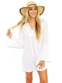 West Coast Wardrobe Making Me Live Tunic Dress in White
