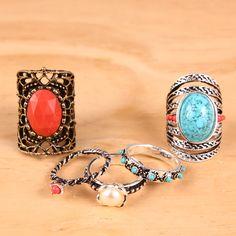 Anéis para colorir seu Verão! #anel #aneis #anelismo #mixbijoux #bijoux #summertime #trend #ring #summerbijoux #boho #bohochic #sereismo #turquesa