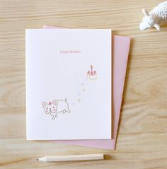 French Bulldog with Cake Birthday Card !! I couldn't not pin Tomoko! Her job is simply PERFECT, she is more than willing to help and make custom orders for you!!  You all should buy her cards!! Perfect gift!  https://www.etsy.com/shop/TomokoMaruyama?ref=seller_info