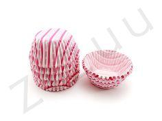 150 pirottini rosa tondi a stelle e strisce con base 30mm #pirottini #ZiZuu
