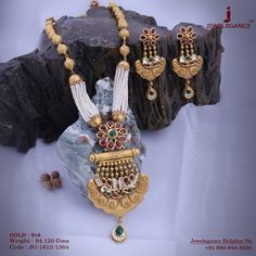 Beautiful Antique Necklace and Earrings . Get in touch with us on Gold Bangles Design, Gold Earrings Designs, Gold Jewellery Design, Fancy Jewellery, Silver Jewellery, Necklace Designs, Indian Jewelry, Silver Ring, Antique Jewellery Designs