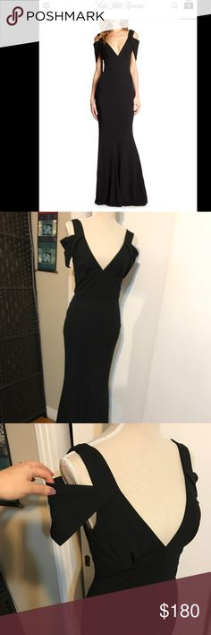 """ABS formal dress Stunning dress purchased last year at Saks. No flaws and dry cleaned. V- neck with cold shoulder triangle sleeve.zips up 65"""" from shoulder to hem. rayon. Classy and timeliness. ABS Allen Schwartz Dresses Prom"""